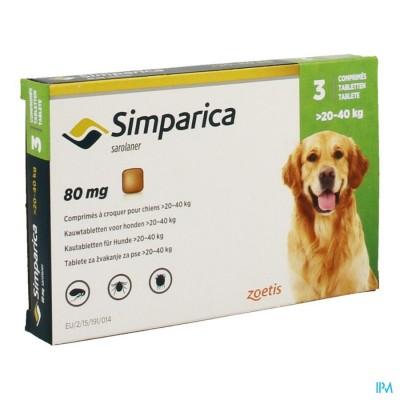 Simparica 80mg Hond 20-40kg Kauwtabl 3