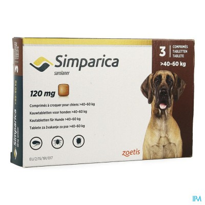 Simparica 120mg Hond 40-60kg Kauwtabl 3