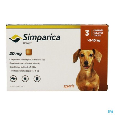 Simparica 20mg Hond 5-10kg Kauwtabl 3