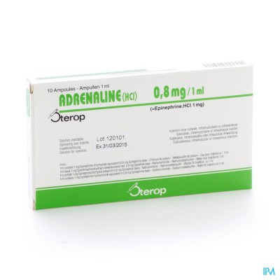 ADRENALINE HCL STEROP 0,8MG/ML AMP 10