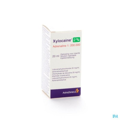 XYLOCAINE 2% ADRENALINE 1:200 000 SOL INJ 20 ML