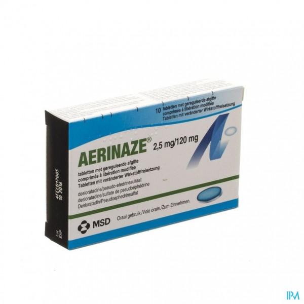 AERINAZE 2,5MG/120MG COMP GEREGULEERDE AFGIFTE 10